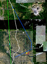 Fig. 2   Overview map of FBI flight path in white, flight path required for the Washougal Washdown Theory in blue, and Tena Bar overflight in green.